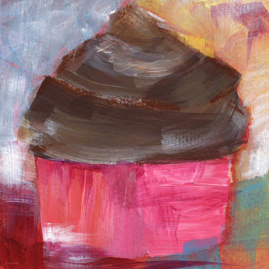 Double Chocolate Cupcake- Art By Linda Woods Mixed Media