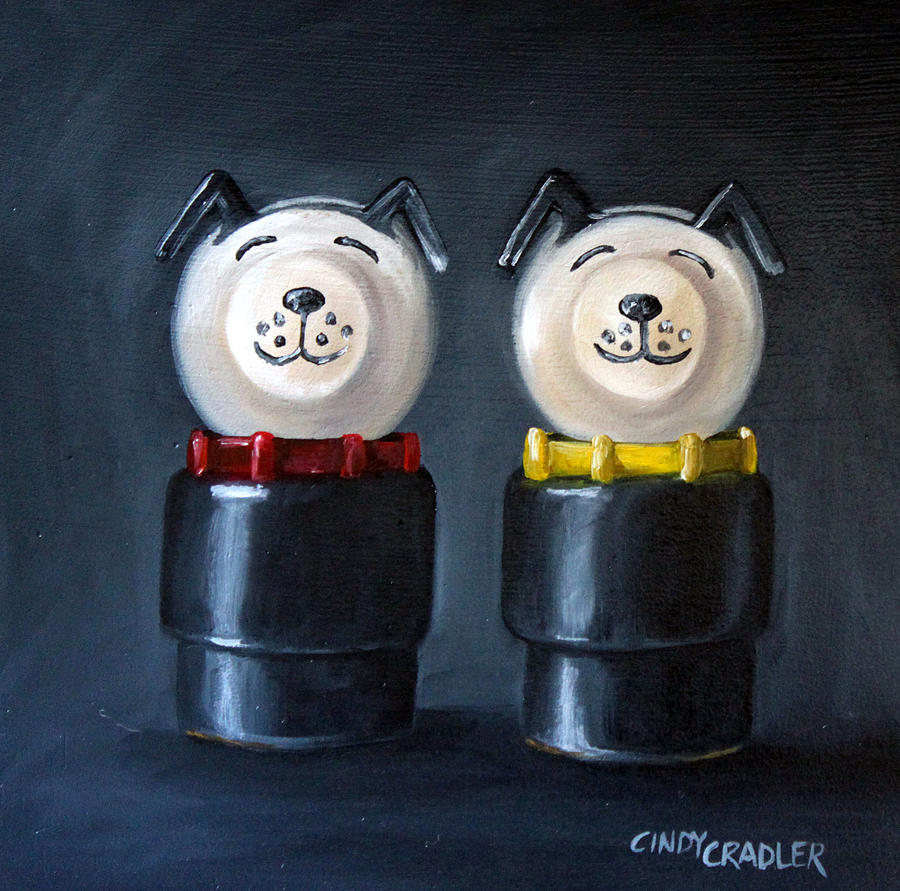 Toy Painting - Double Dog Dare by Cindy Cradler