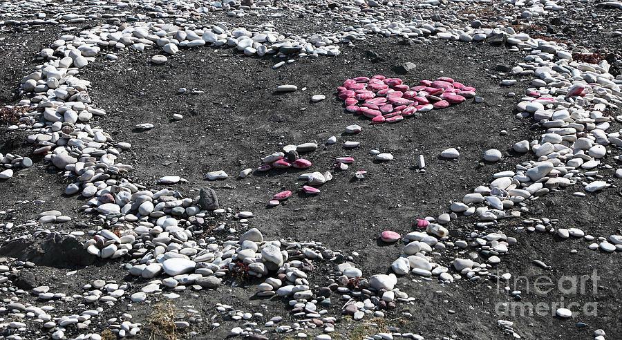 Double Heart On The Beach Photograph - Double Heart On The Beach by John Rizzuto