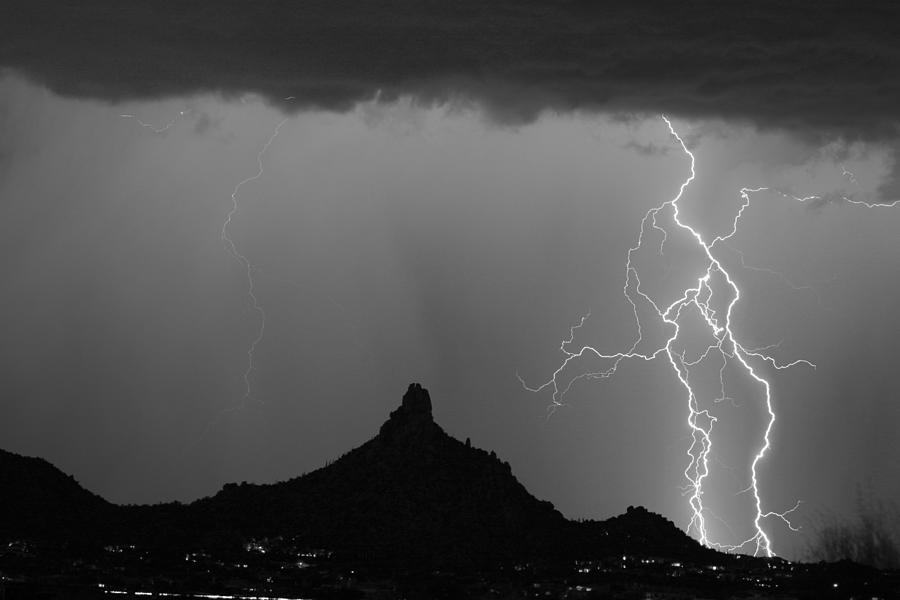 Double Lightning Pinnale Peak Bw Fine Art Print Photograph