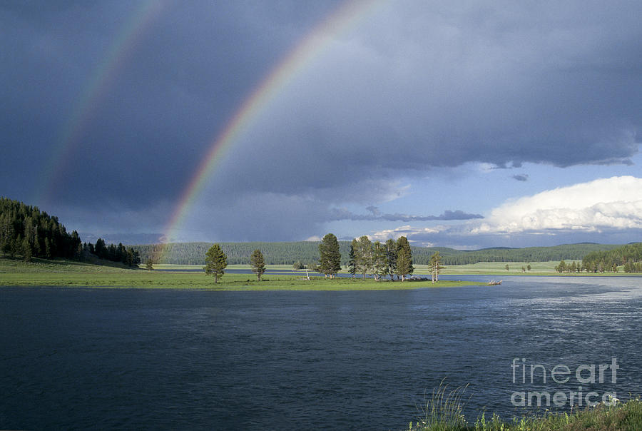 Yellowstone Photograph - Double Rainbow At Alum Creek by Sandra Bronstein