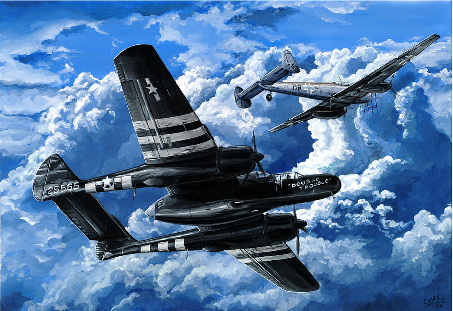 P-61 Painting - Double Trouble by Charles Taylor