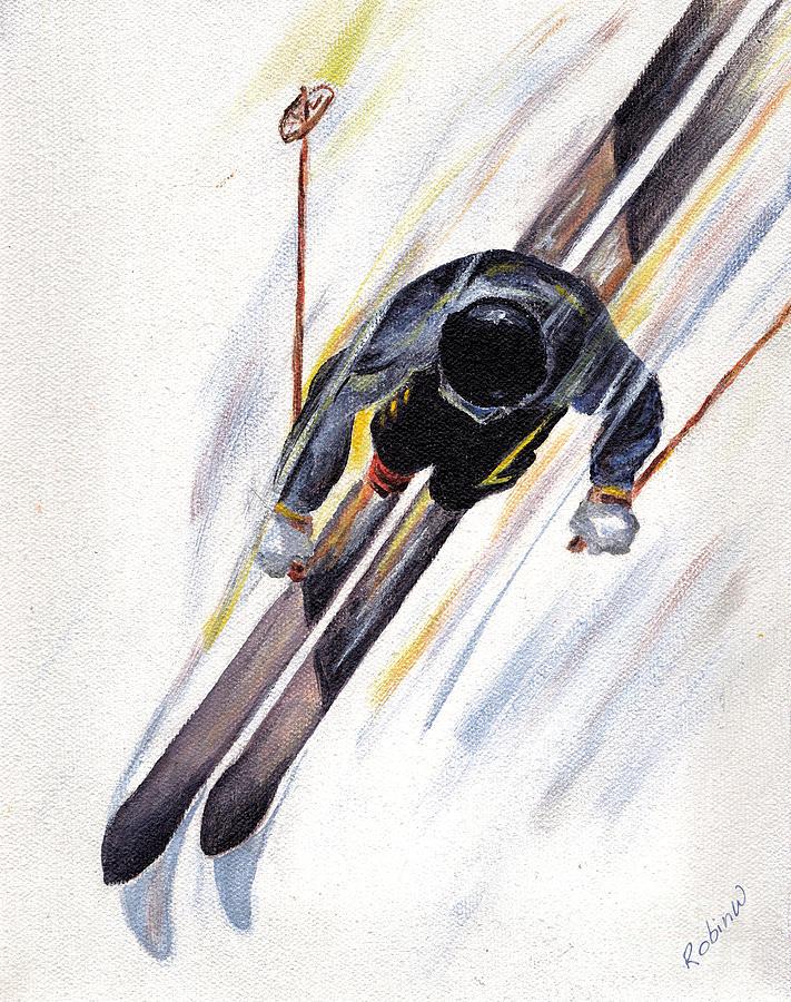 Ski Painting - Downhill Skier by Robin Wiesneth