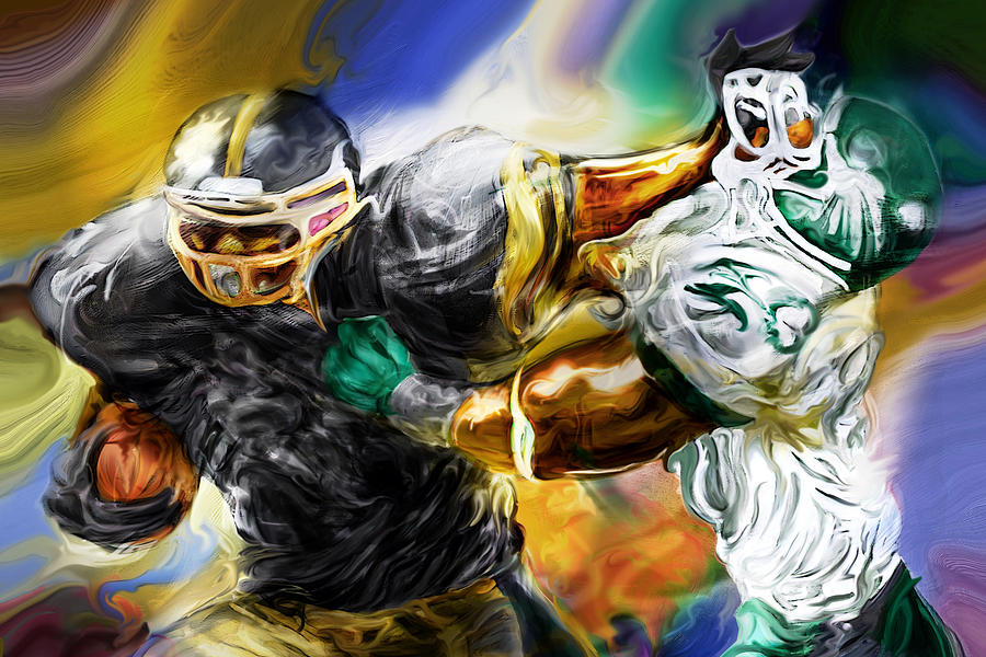 Football Painting - Downtown Express by Mike Massengale