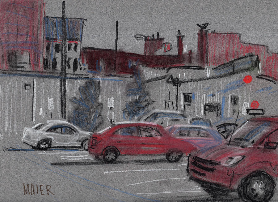Parking Drawing - Downtown Parking by Donald Maier