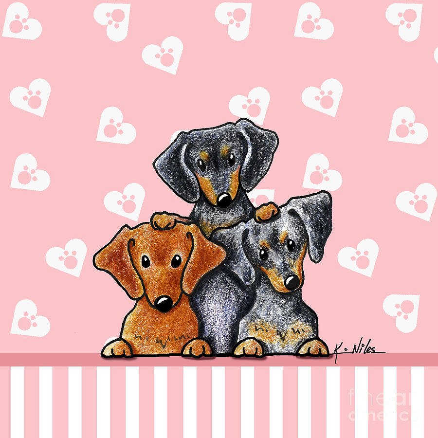 Doxie Drawing - Doxie Trio by Kim Niles