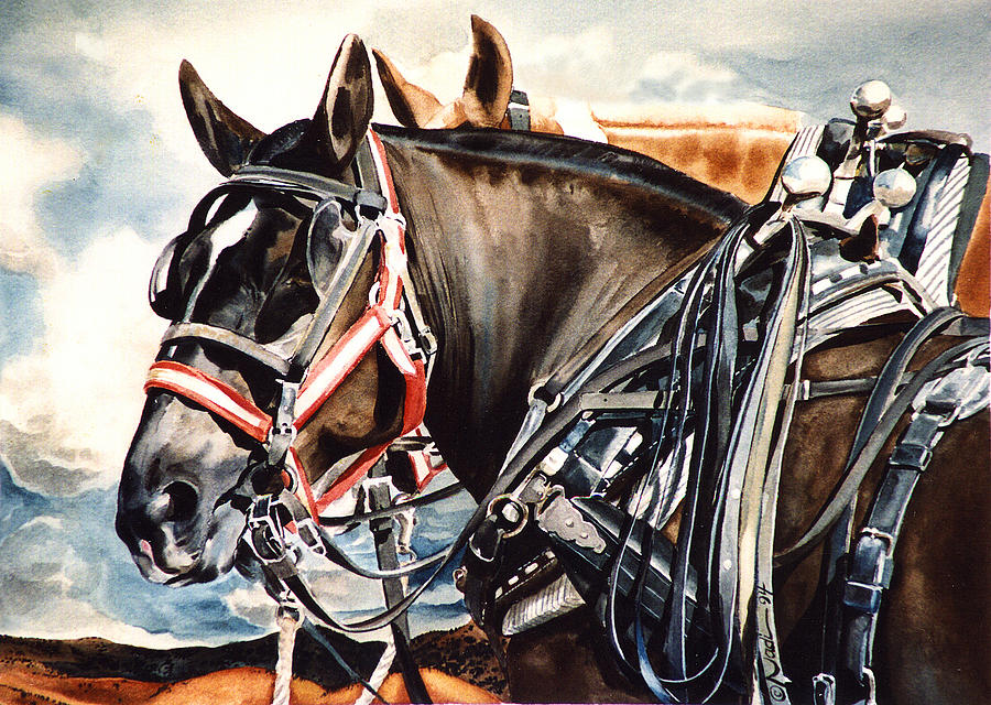 Horse Painting - Draft Mules by Nadi Spencer