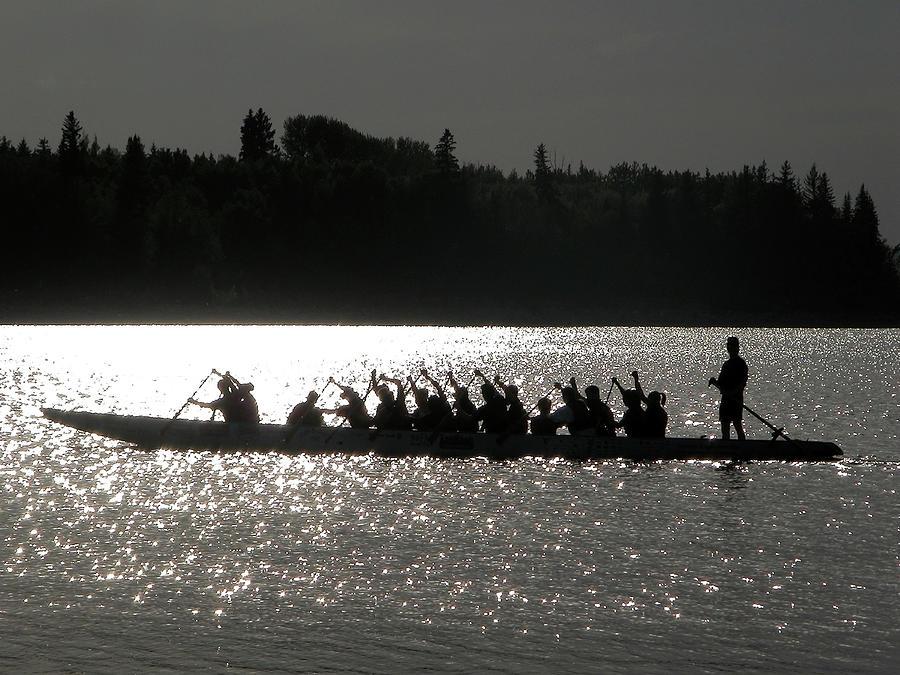 Glenmore Reservoir Photograph - Dragon Boat Silhouette by Stuart Turnbull