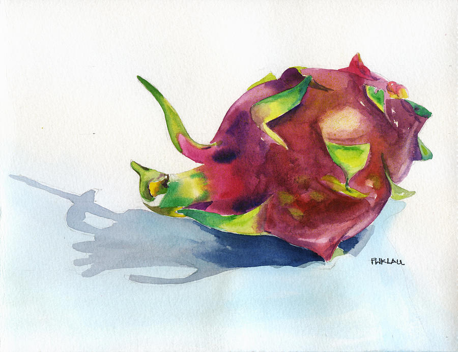 Watercolor Paintings Of Fruit Dragon Fruit Painting