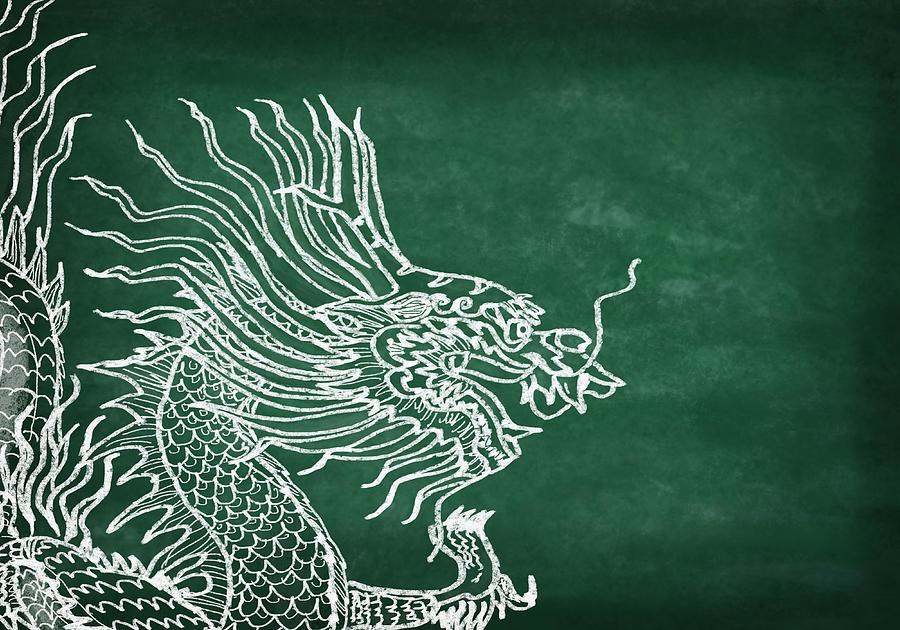 2012 Photograph - Dragon On Chalkboard by Setsiri Silapasuwanchai