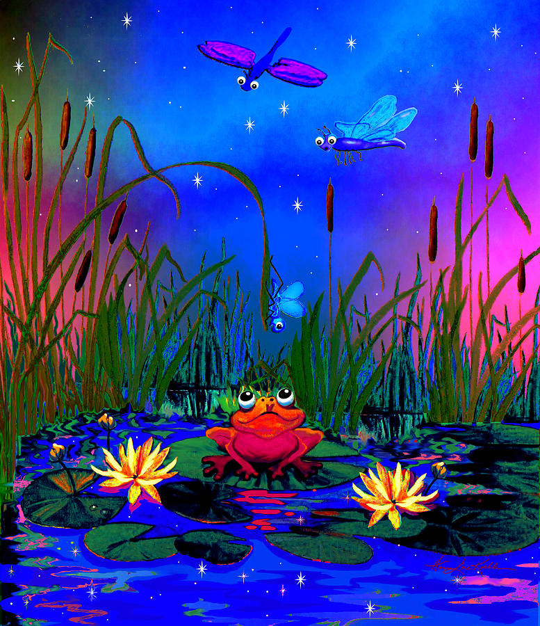 Dragonfly pond night painting by hanne lore koehler for Dragonfly mural