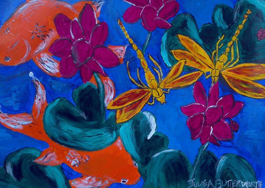 Dragonflies Framed Prints Painting - Dragonflys by Julie Butterworth