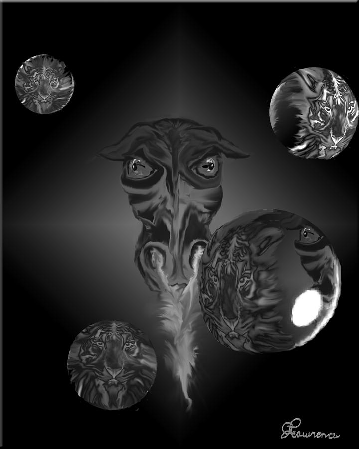 Dragons Tiger Tigers Bubbles Black And White Fantasy Drawing - Dragons And Tigers by Andrea Lawrence