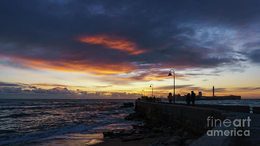 Dramatic Sky At The Walkway Cadiz Spain Photograph