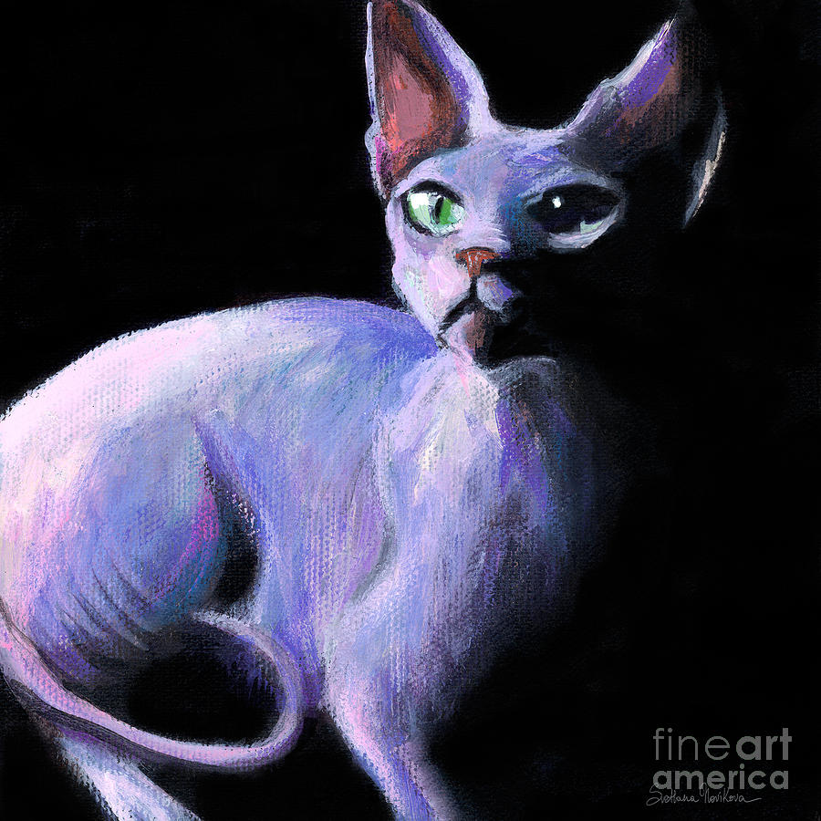Dramatic Sphynx Cat Print Painting Painting