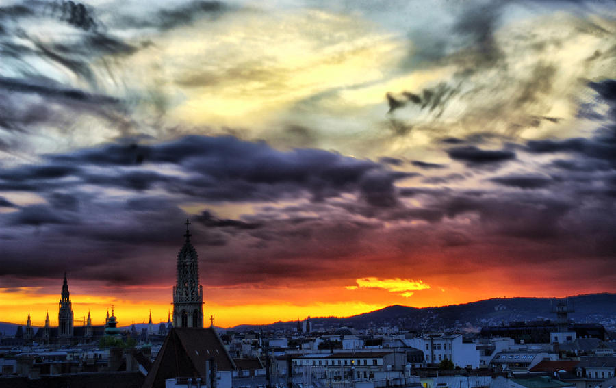 Dramatic Sunset Clouds Over Vienna Photograph