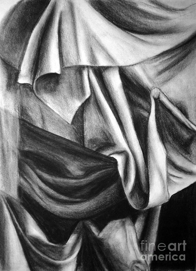 Drapery Still Life Drawing By Nancy Mueller
