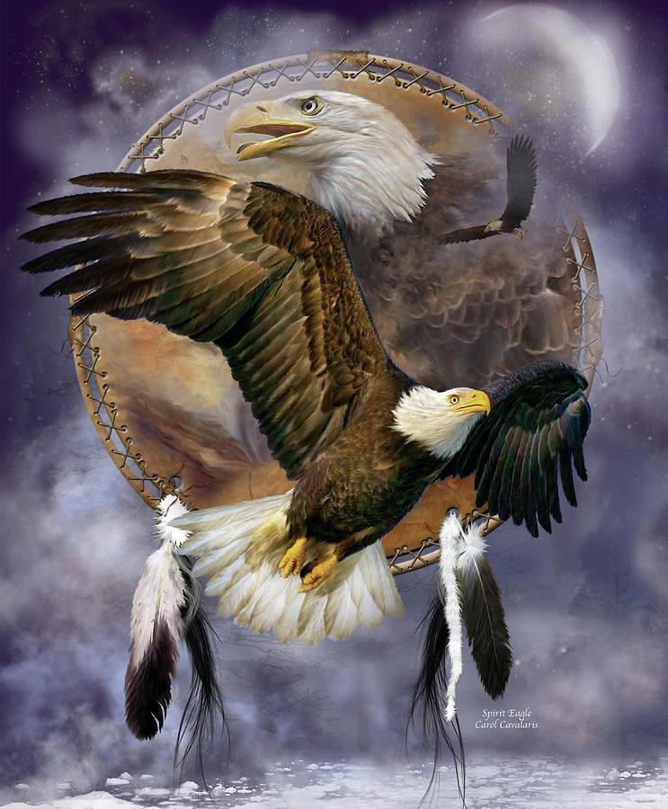 Carol Cavalaris Mixed Media - Dream Catcher - Spirit Eagle by Carol Cavalaris