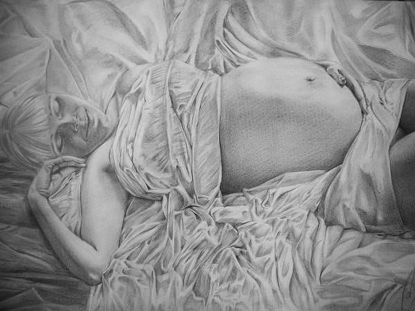 Pregnant Drawing - Dream by Fabio Turini