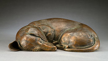 Bronze Dachshund Sculpture Wirehaired Sculpture - Dreaming Of Tomatoes Ms by Joy Beckner