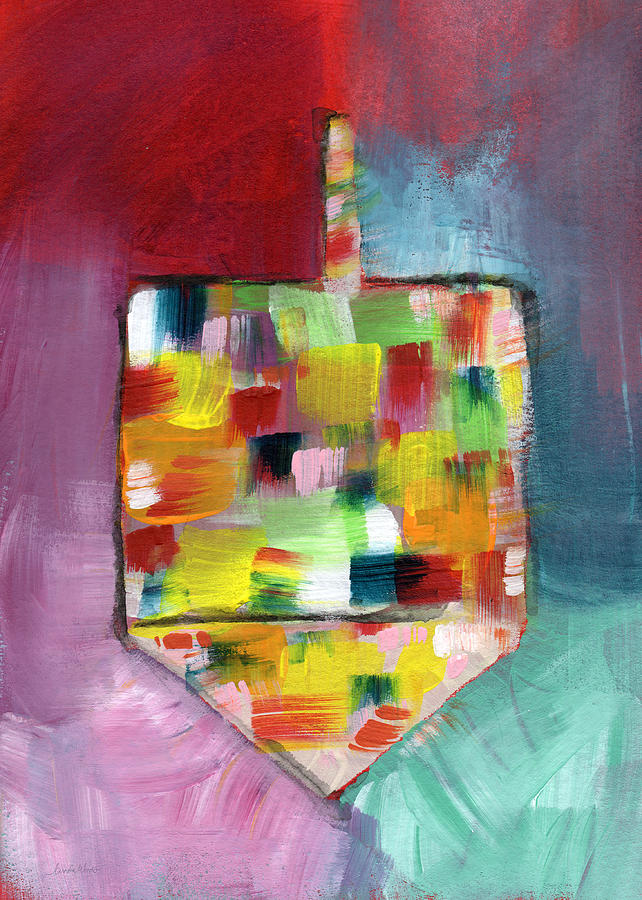 Dreidel Of Many Colors- Art By Linda Woods Painting