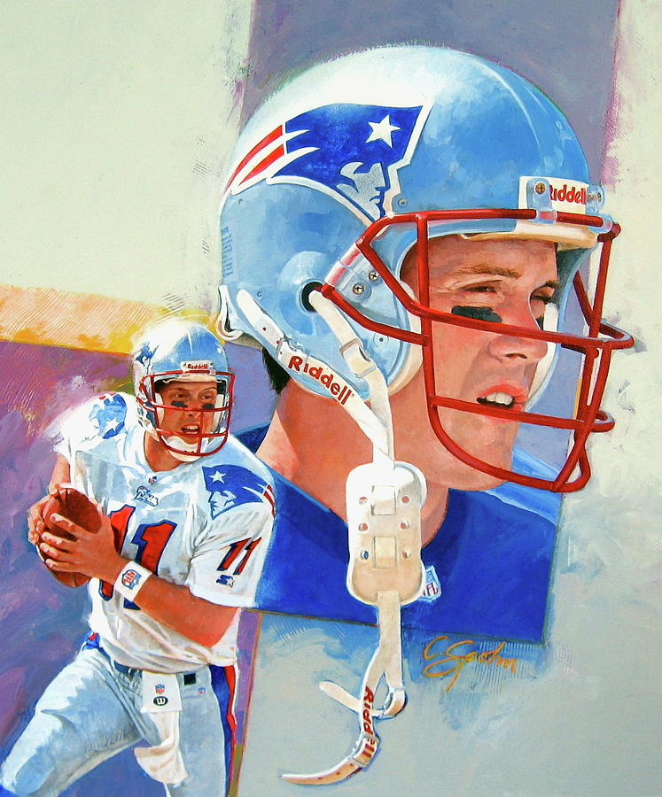 Acrylic Painting - Drew Bledsoe by Cliff Spohn