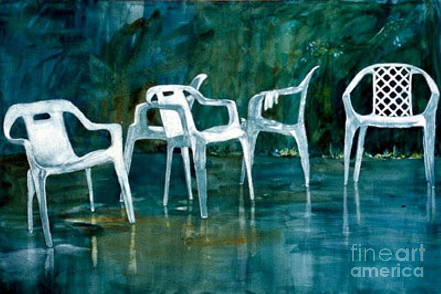 Lawn Chairs Painting - Drip Dry by Elizabeth Carr