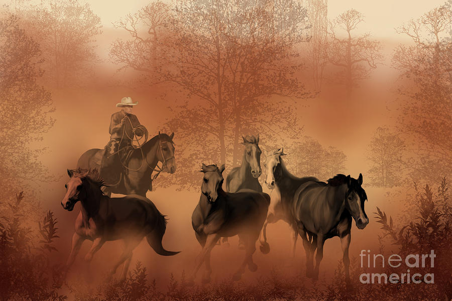 Cowboy Painting - Driving The Herd by Corey Ford