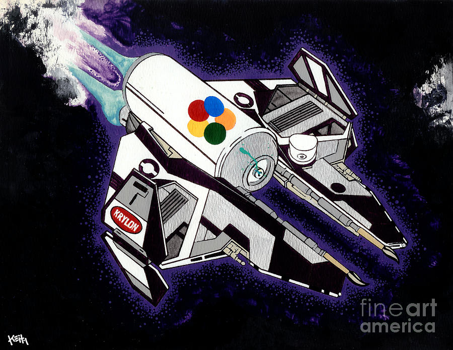 Space Painting - Drobot Space Fighter by Turtle Caps