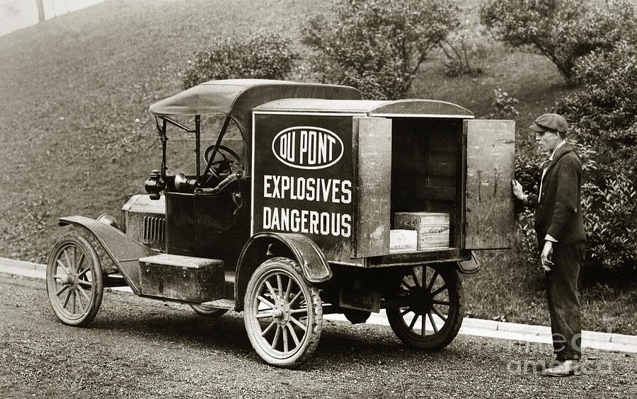 Du Pont  Photograph - Du Pont Co. Explosives Truck Pennsylvania Coal Fields 1916 by Arthur Miller