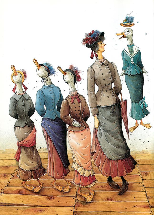 Dance Ducks Step Party Painting - Ducks Dance by Kestutis Kasparavicius