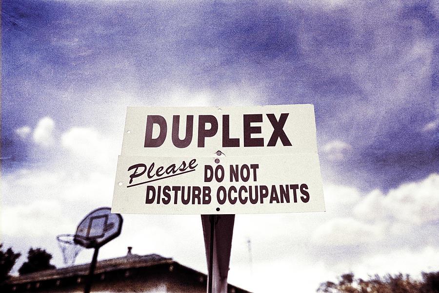Duplex Yard Sign Stormy Sky Photograph