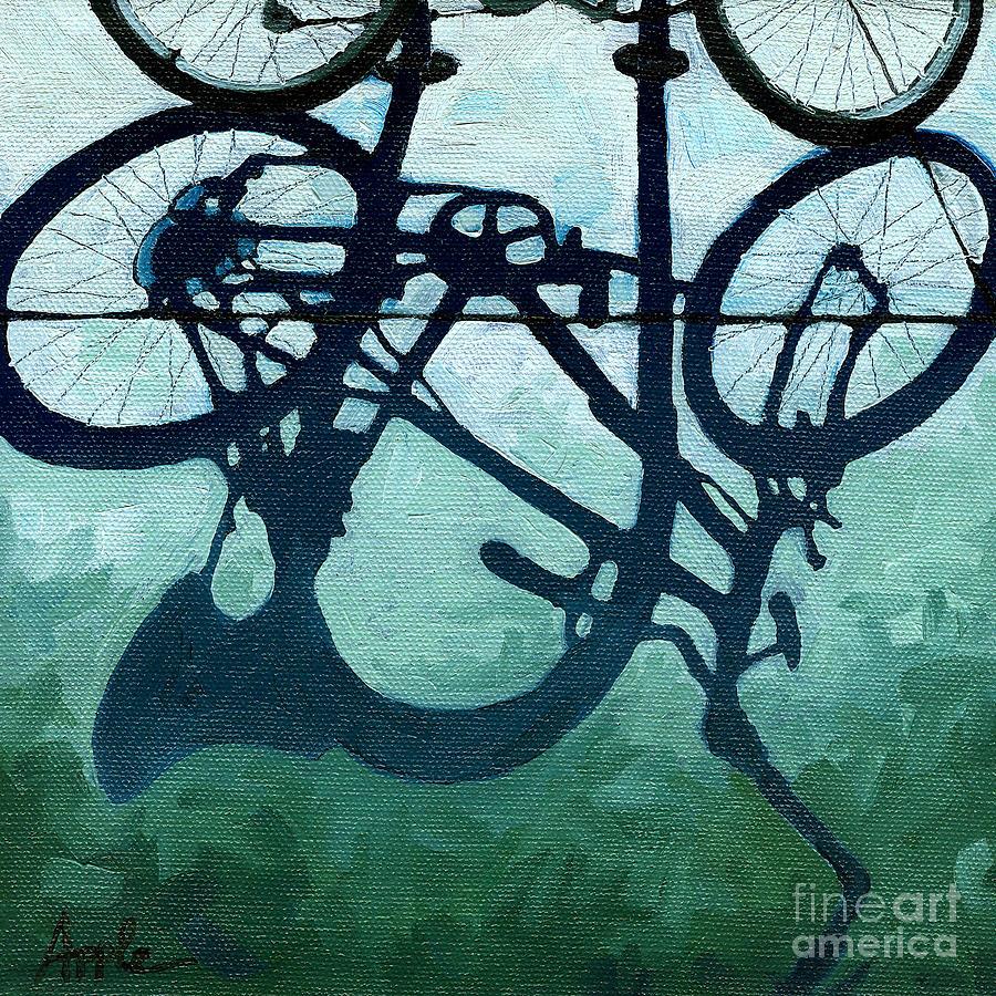 Bicycle Art Painting - Dusk Shadows - Bicycle Art by Linda Apple