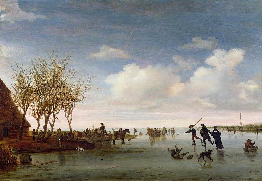 Dutch Painting - Dutch Landscape With Skaters by Salomon van Ruysdael