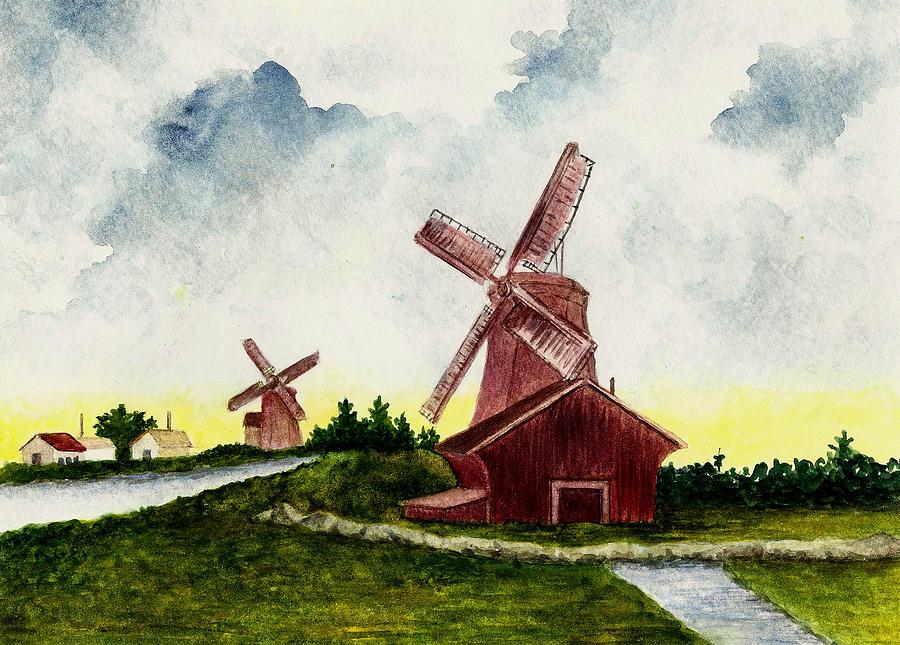 Dutch Windmills Painting