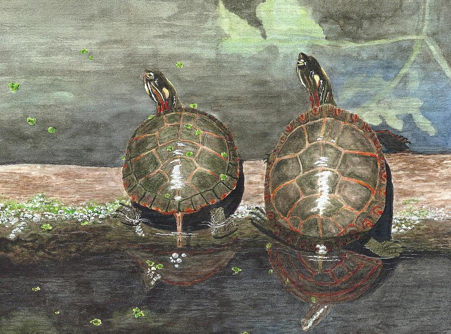 Turtles Painting - Dynamic Duo by Deborah Brown Maher