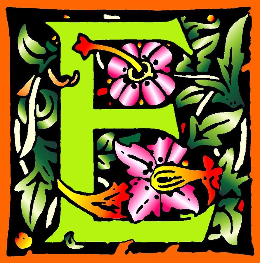 Alphabet Digital Art - E In Green by Kathleen Sepulveda