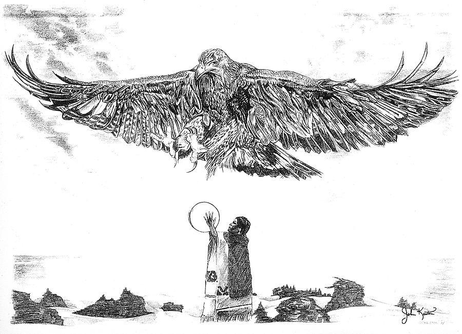 American Indian Drawing - Eagle Visit by John Keaton