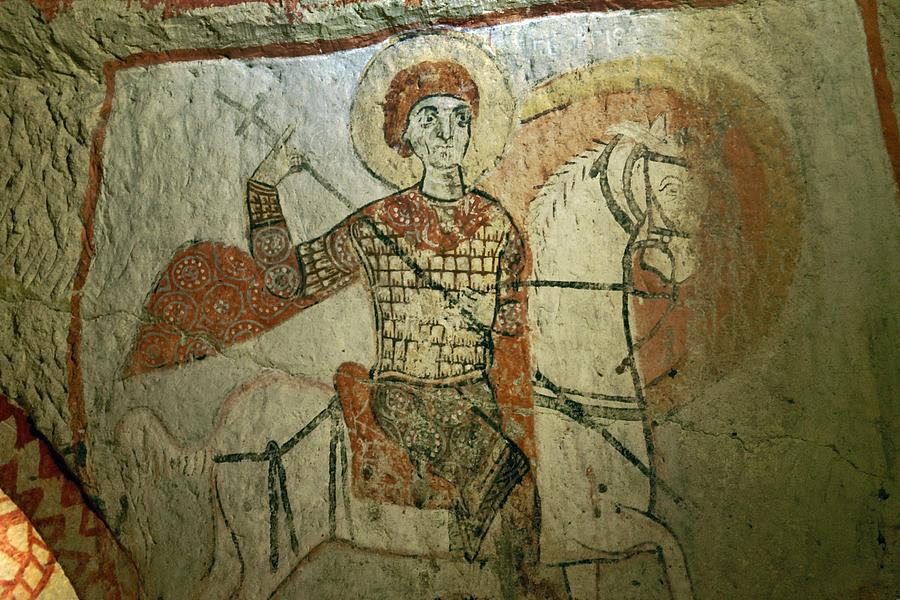 Early christian mural saint george in rock carved saint for Christian mural