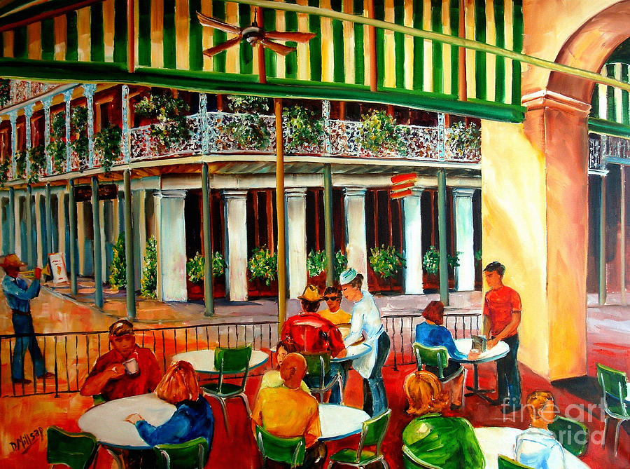 New Orleans Painting - Early Morning At The Cafe Du Monde by Diane Millsap