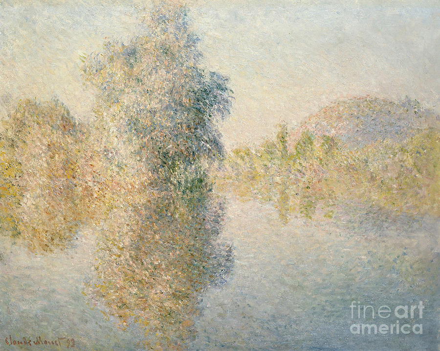 Impressionism; Impressionist; Landscape; River; Tree; Reflection; Water; French Painting - Early Morning On The Seine At Giverny by Claude Monet