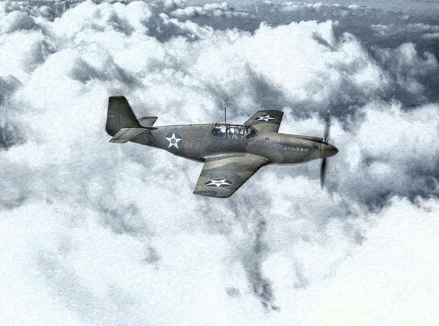 Airplane Digital Art - Early P-51 Mustang Fighter  by Randy Steele