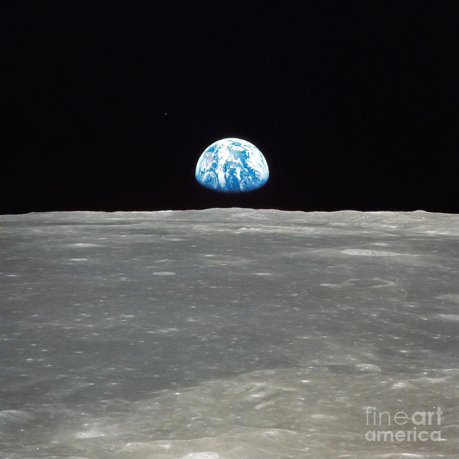 Color Image Photograph - Earth And The Moon by Stocktrek Images