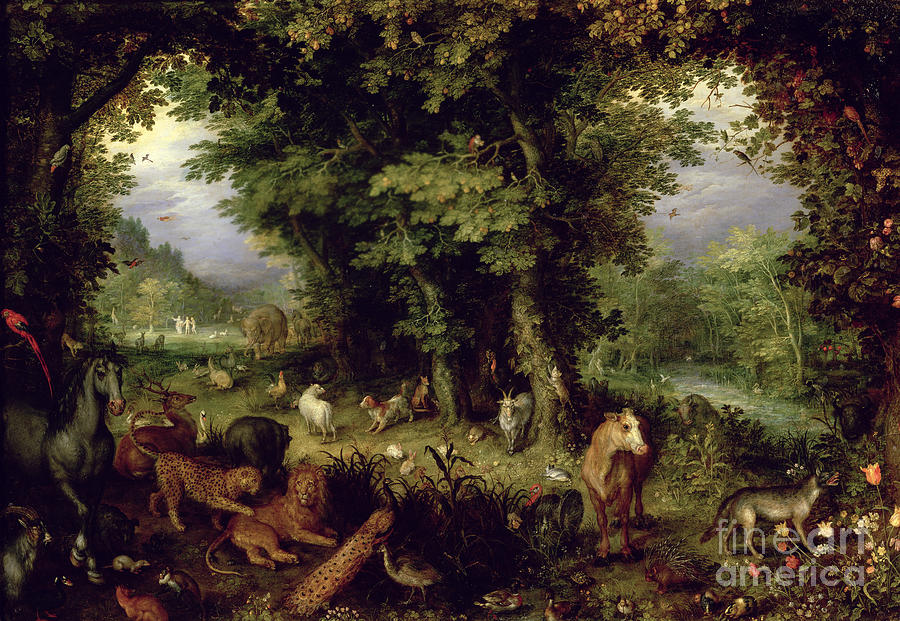 Animal; Animals Painting - Earth Or The Earthly Paradise by Jan the Elder Brueghel