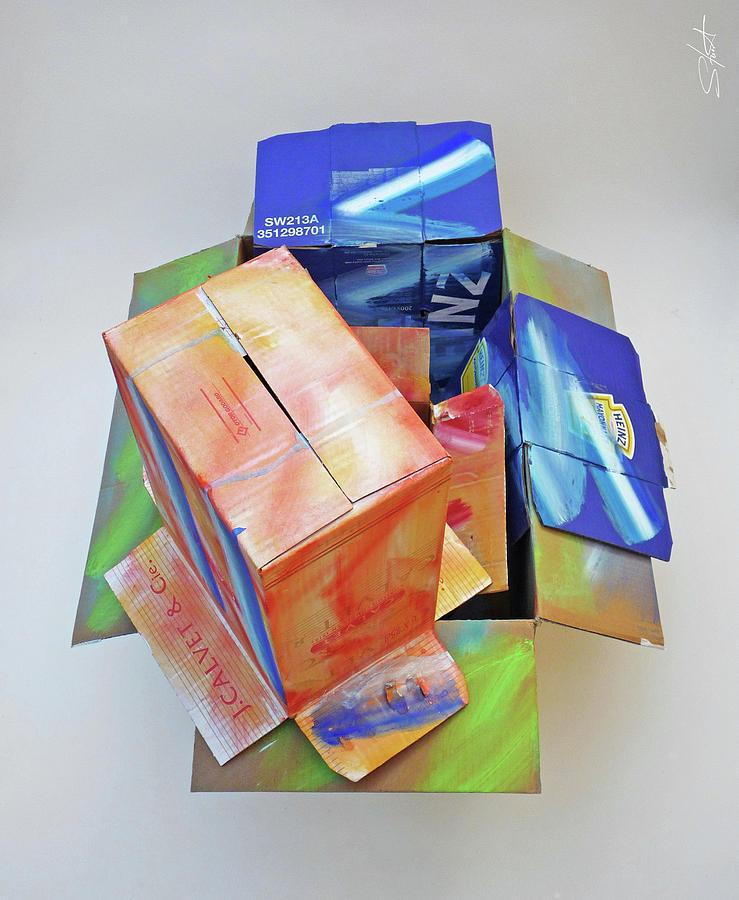 Cardboard Sculpture - Earthquake 2 by Charles Stuart