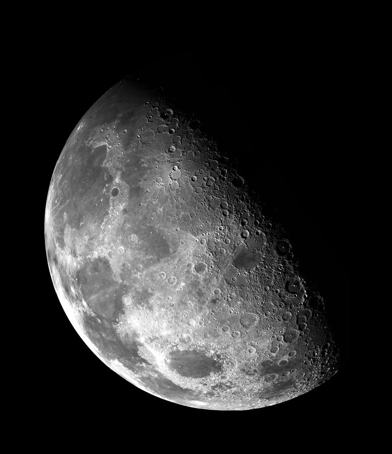 Nebula Photograph - Earths Moon In Black And White by The  Vault - Jennifer Rondinelli Reilly