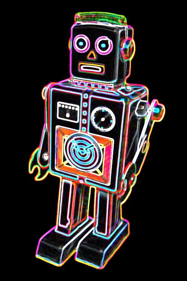 Robot Digital Art - Easel Back Robot by DB Artist