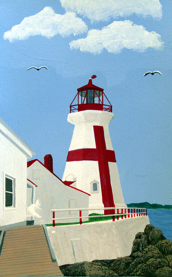 Lighthouse Paintings Painting - East Quoddy Head Lighthouse by Frederic Kohli