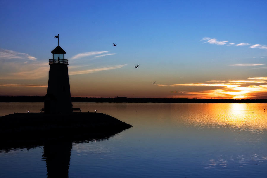 east Warf Lighthouse Photograph - East Warf Sunset by Lana Trussell