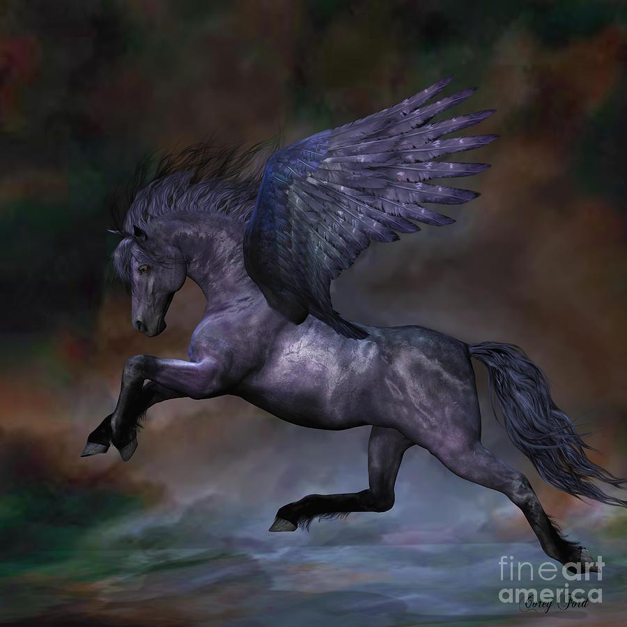 Pegasus Painting - Ebony by Corey Ford